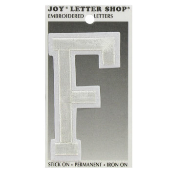 "White F 3"" Embroidered Iron-On Letter"